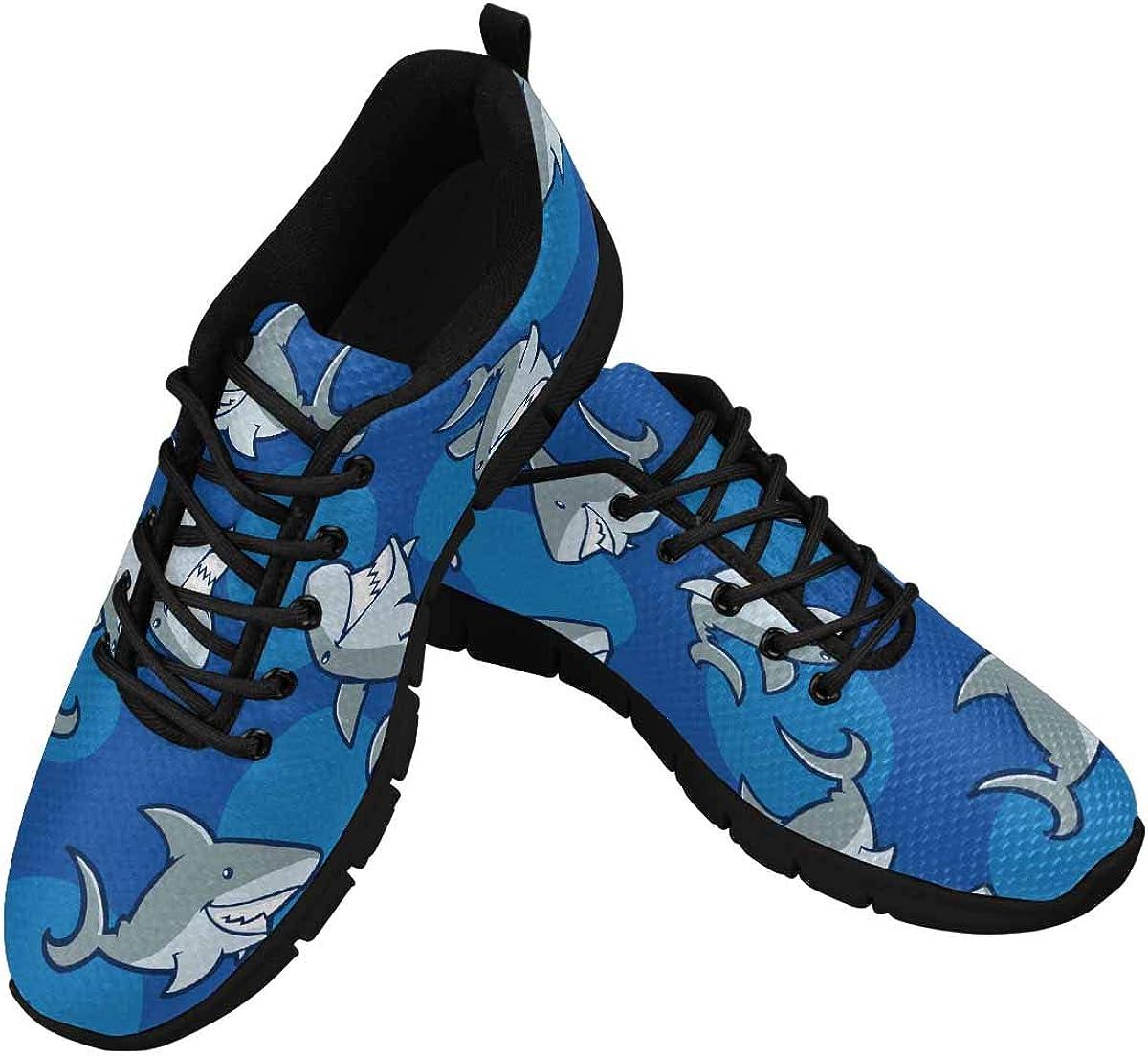InterestPrint Shark Pattern Women's Tennis Running Shoes Lightweight Sneakers