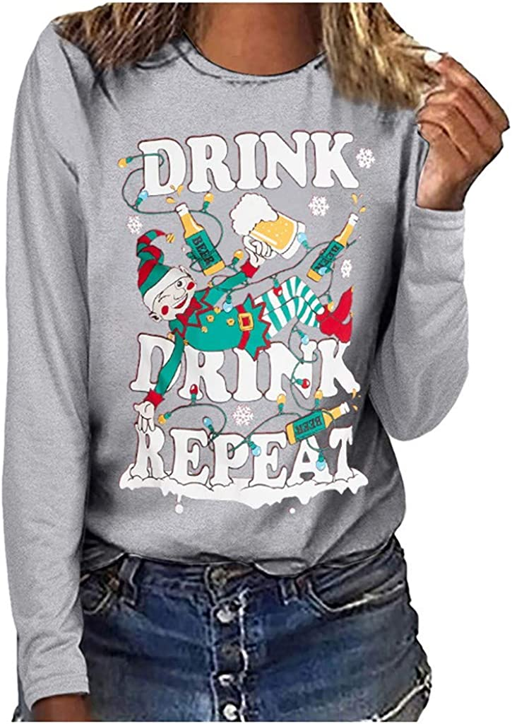 Discount is also underway Kethorina Drink Ranking TOP16 Repeat Christmas T Letter Women Shirt