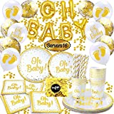 Oh Baby Decorations for Baby Shower, Oh Baby Shower Plates and Napkins,oh Baby Gold Balloons Banner, Gold Paper Plates, Cups, Strawers and Napkins | Disposable Tableware(104PCS)