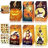 FullJoyHut 24 PCS Sacchetti Carta Kraft di Caramelle di Halloween Sacchetti Regalo Dolcetti o Trucchi BorsaSacchetto Biscotti Dolci Zucca Ragno Adesivi per Festa Halloween Party Decorazioni