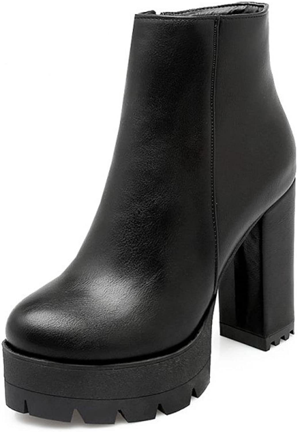 CarziCuzin Women Dress Chunky High Heel Ankle Boots Zip