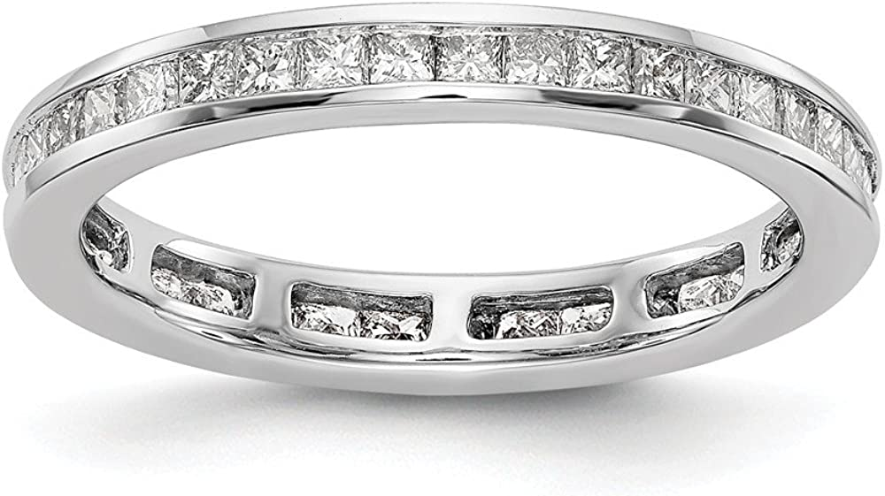 Solid 14k White Today's Mail order only Gold 2ct Set Anniversar Princess Diamond Channel