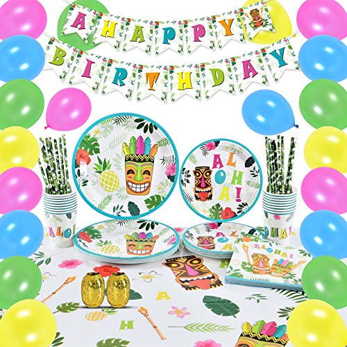 WERNNSAI Conjunto de Suministros Fiesta Aloha - 105 PCS Luau Decoraciones para Niños Cumpleaños Banner Globos Cubiertos Cubiertas Cubiertas de Mesa Platos Tazas Servilletas Pajitas