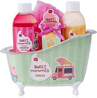 accentra Coffret de bain Sweet Moments pour femmes et filles dans une baignoire décorative, coffret de soins 5 pièces pour...