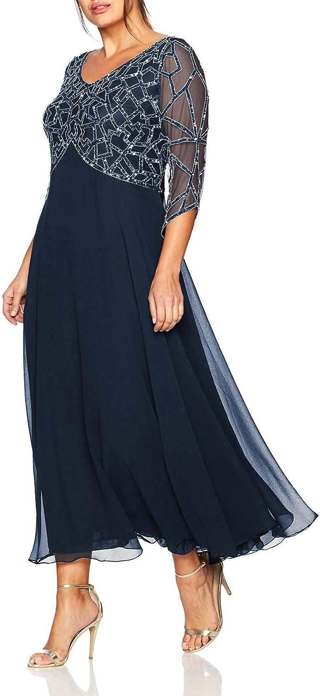 Jerald Norton Ltd Women's Plus Size 3 4 Sleeve Geo Beaded Gown Mother of The Bride Dress Black