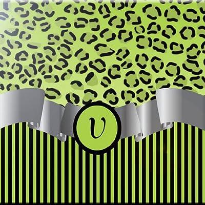 Rikki Knight 8 x 8 Letter V Lime Green Leopard Print Monogrammed Design Ceramic Art Tile
