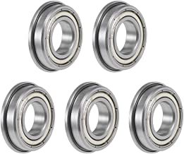 uxcell F6901ZZ Flange Ball Bearing 12x24x6mm Shielded Chrome Bearings 5pcs