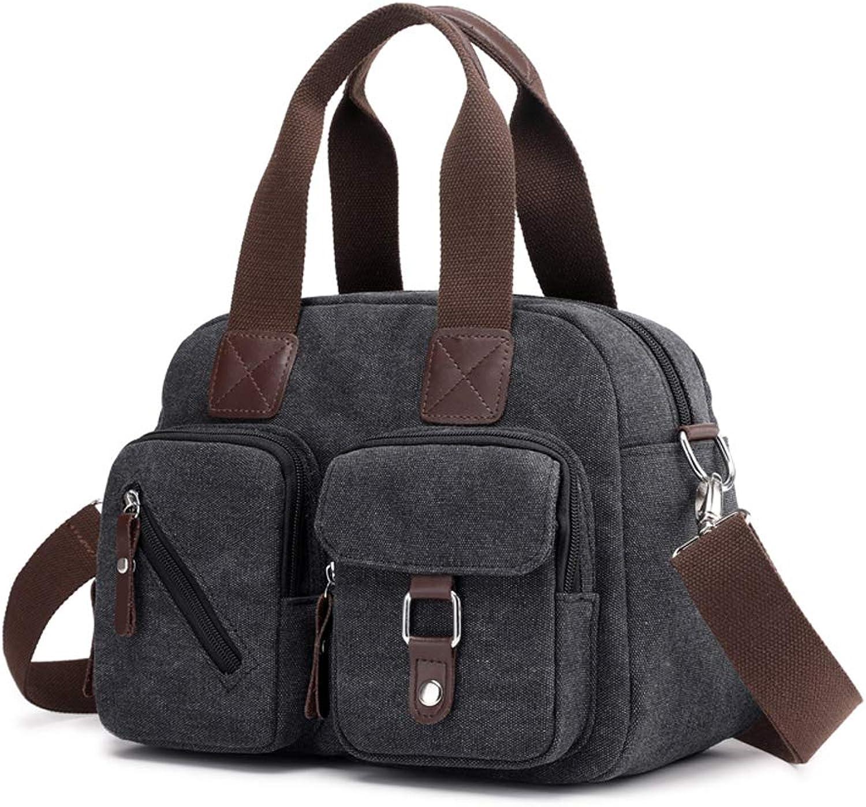 YNNB Canvas Multiple Pocket Bag, Canvas Cross Body Shoulder Bag Messenger Bags Handtasche Fashion Tote Bag,schwarz B07NTVJHCJ  Verkauf neuer Produkte