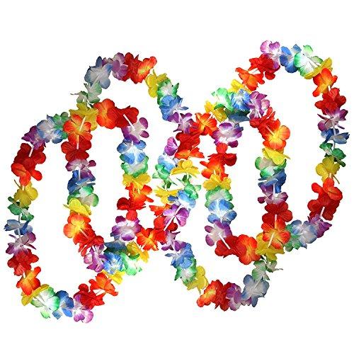 NEYOANN 50 x Collares de Flores Hawaianas Tropicales por - Gran cantidad de Collares - Traje de Flores de Hawai Accesorios Cumpleanos tematicos, Disfraces y Bodas.