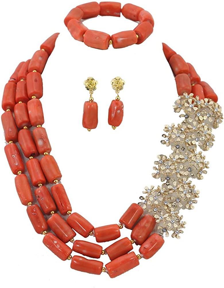 Africanbeads 3-Row Orange Costume African Beads Jewelry Set Nigerian Coral Beads Wedding Necklace