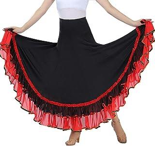 Damen Flamenco Dance Lange Rock Maxirock Tanzrock Faltenrock Tango Latein Walzer Bauchtanz Ballroom Wettbewerb Kostüm