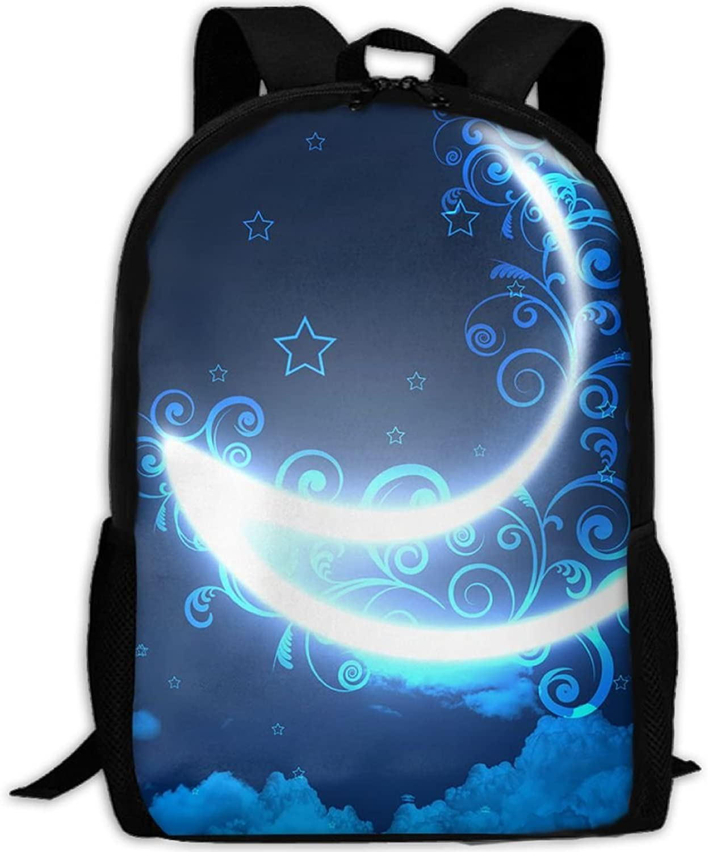 Adult Backpack Ship Moon Light College Daypack Oxford Bag Unisex Business Travel Sports Bag with Adjustable Strap