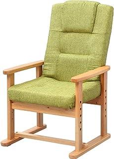 アイリスプラザ 椅子 座椅子 リクライニング ハイバック グリーン 幅約54×奥行約54~72×高さ約71~90cm YC-602HH