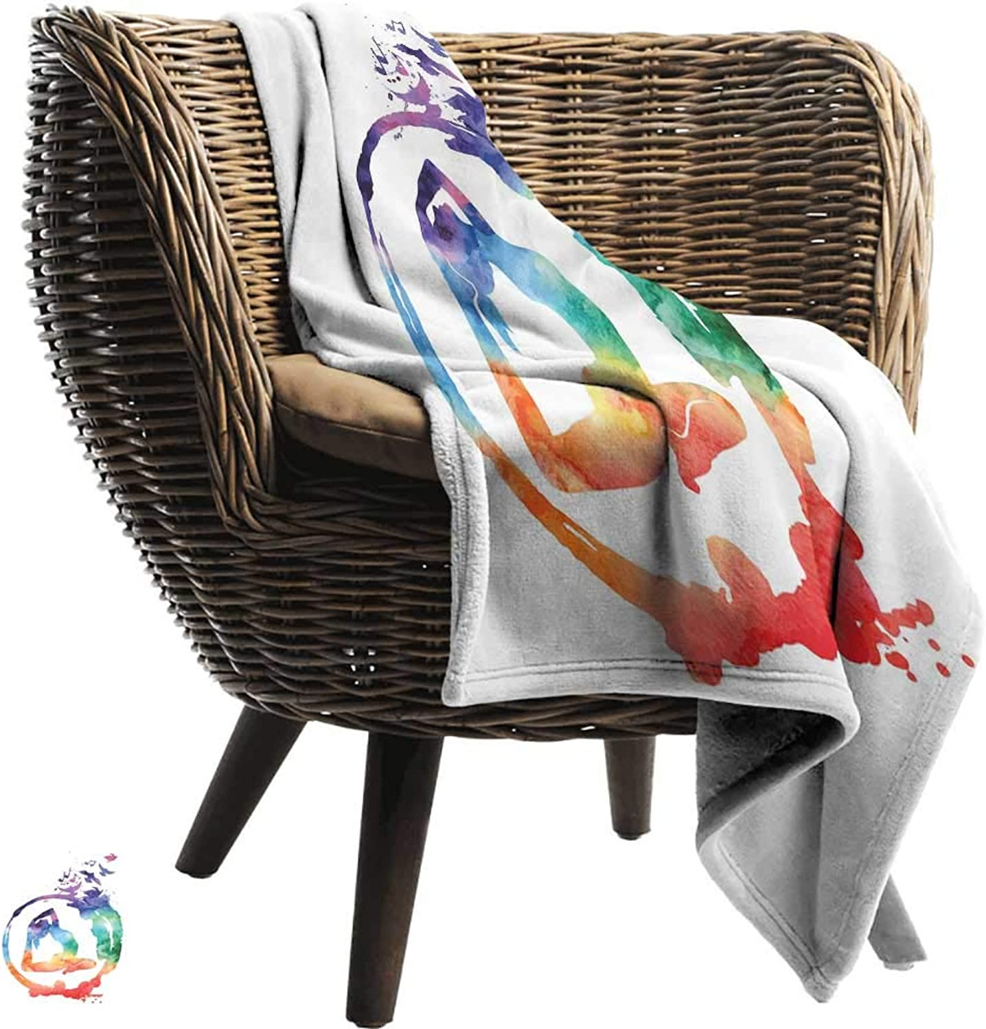 WinfreyDecor Yoga Warm Blanket Rainbow Watercolors Zen Symbol Yoga Pose Free Birds and Music Inspiration Spiritual All Season for Couch or Bed 60  Wx51 L Multicolor