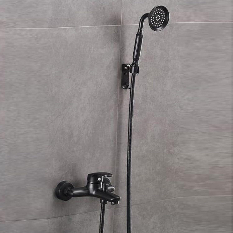 Bijjaladeva Wasserhahn Bad Wasserfall Mischbatterie Waschbecken WaschtischSchwarz Dusche Wasserhahn Warmes und Kaltes Bad Armaturen in Bad Armatur Drei Einfache Dusche B