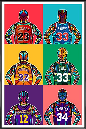"JUNIQE® Pop Art Basketball Poster im Kunststoffrahmen 20x30cm - Design ""NBA Legends"" entworfen von Van Orton Design"