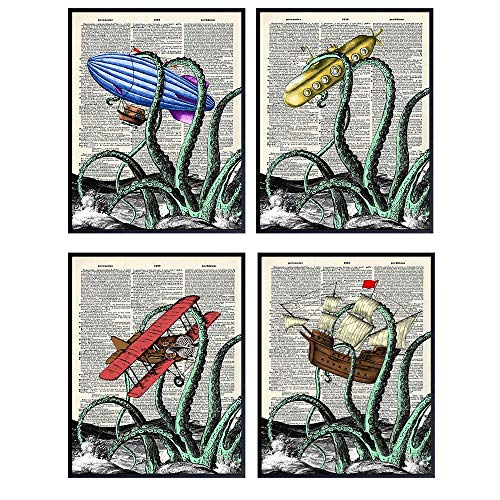 Octopus Decor - Vintage Kraken Nautical Bathroom Wall Art for Home or Beach House - Cute Funny Ocean Themed Gift for Steampunk Fans - 8x10 UNFRAMED Poster Print Set