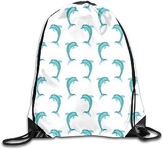 Drawstring Backpack Sports Gym Bag Bulk Bags Cinch Sacks Pull String Bags,Aqua Watercolor Art Dolphin Figures Ocean Playful Marine Underwater Theme,for Women Men Children Large Size