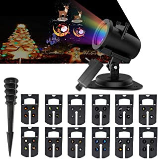 LED Christmas Decorative Projector Light Outdoor 14 Pattern Indoor Light Show Projection Lights for Multi Celebration, Seasonal Holiday House Decorations