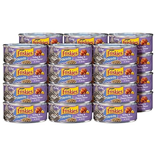 Purina Friskies Gravy Wet Cat Food, Shreds Turkey & Cheese Dinner - (24) 5.5 oz. Cans