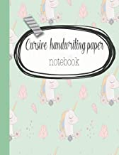 Cursive handwriting paper notebook: The large 16 double-lined spaced notebook for primary and early year children learning to write in cursive script style - Green magical unicorn cover art design