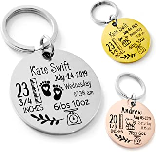 Personalized Keychains for Women Cute Baby Announcement Baby Statistics Stats Keychain Engraved - Gift for New Mom/New Dad - Round/Military Stainless Steel Key Chain