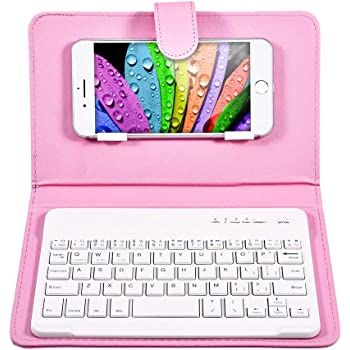 QYLLXSYY Portable Wireless Bluetooth Keyboard PU Leather Case for Phone Tablet Keyboard