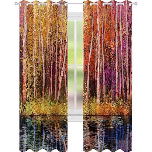 Cortinas opacas para dormitorio, árboles de otoño junto con el lago caída en la selva Paraíso natural, 52 x 84 para puertas correderas de vidrio, sala de estar, color morado