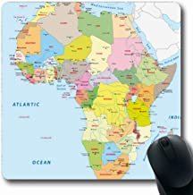 Ahawoso Mousepads for Computers Chad Blue Kenya Africa Political Map Uganda South Sudan Rwanda Cities Design Countries Oblong Shape 7.9 x 9.5 Inches Non-Slip Oblong Gaming Mouse Pad