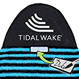 Tidal Wake TAG-IT Round Nose Surf & Wake Board Sock Bag with Built-in Name Tag, 60' Tag Your Bag - Personalize with Your Name! (Blue & Black Striped)