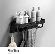 Ponsvrije badkamerplank, muurbevestiging, wandmontage, toiletopbergrek, badkamerbad multifunctioneel rek - geheel zwart B-...