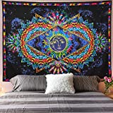 Galoker Trippy Tapestry Sun and Moon Tapestry Colorful Bohemian Mandala Hippy Tapestry Psychedelic Celestial Tapestry Wall Hanging for Home Decor(H51.2×W59.1 inches)