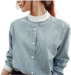 Mogogo Womens Colorblock Botton Front Elegent Mandarin Collar T-Shirt Top