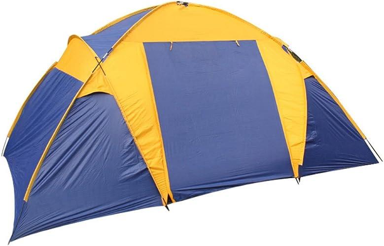 HITFIVE Tente de Camping 4Saisons Two-Bedroom, One-Storey Tente par Plusieurs Personnes Doivent être assemblé pour Sports de Plein air avec Bleu Patchwork