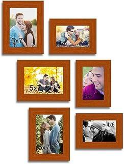 ART STREET - Decorous Brown Wall Photo Frame - Set of 6 Individual Photo Frame