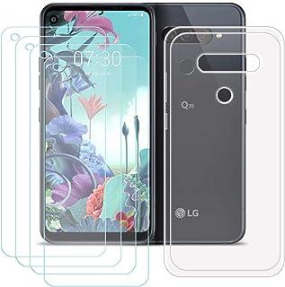 YZKJ Fodral för LG Q70 Cover hållbar silikon skyddande hölje TPU skal skal skal skal skal 4 stycken pansarglas skärmskydd ...