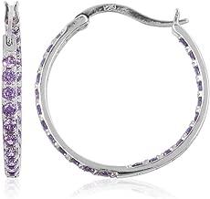 925 Sterling Silver Cubic Zirconia CZ Purple Inside Out Hoops Hoop Earrings Jewelry for Women Cttw 1.6