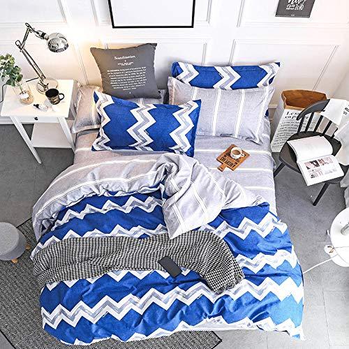 ARTEZXX beddengoed set 3-delig - blauw golfpatroon - 100% polyester stof dekbedovertrek set gebruik zachte rimpel gratis hypoallergene rits & hoekbanden (1 dekbedovertrek + 2 kussenslopen)