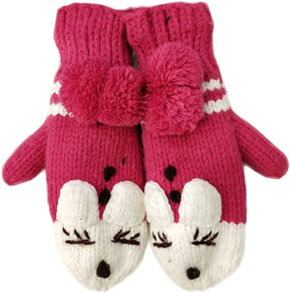 Winter Mittens For Women Knit Pompom Mitten Warm Fluffy Glove Cycling Running Work Cold Weather