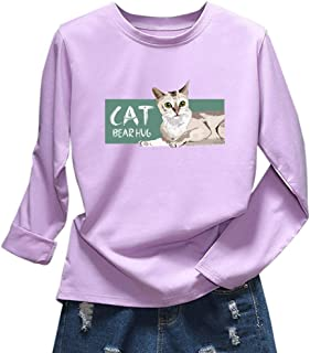 Benficial 2019 New Top for Women Fashion Solid Color Round Neck Cat Letter Print Slim Long Sleeve Top