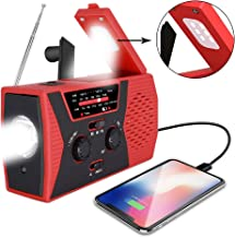 [2019 Upgraded Version] Sosanping Emergency-Solar-Hand-Crank-Radio, Portable NOAA-Weather-Radio with AM/FM, Reading-Lamp, 2000mAh-Power-Bank-USB-Phone-Charger and SOS Alarm,LED Flashlight(RED)