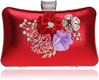 Vintage Flower Ladies Clutch, Bridal Party Purse, Ladies Pearl Flower Party Crossbody Bag for Formal Events (20 * 6 * 12Cm),Red