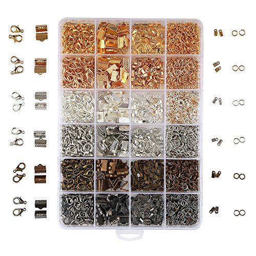 OPount 24 Style 2400 Pcs/Box Jewelry Making Kit 6 Colors with Open Jump Rings, Lobster Clasps, Cord Ends and Ribbon Ends