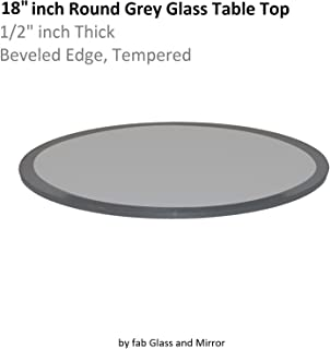 Fab Glass and Mirror Round Glass Table Top, 18, Grey