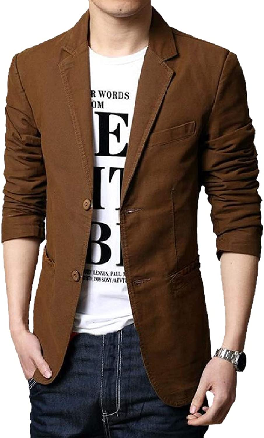 82c51a971d1 Mfasica Mens Business Fit Oversized Oversized Oversized Lapel Two-Button  Blazer Jacket Coat Coffee XL bc34be