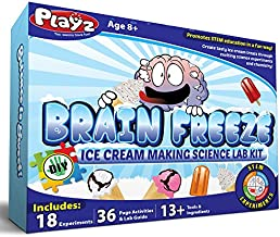 Playz Brain Freeze Ice Cream Making Science Kit - 18+ Yummy STEM Experiments, 36 Page Lab Guide, 13+ Ingredients and Tools for Boys, Girls, Kids, and Teenagers