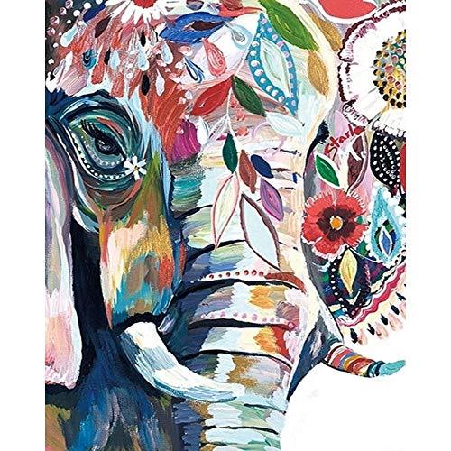 yaonuli Abstrakte Elefantentier DIY Digitale Malerei Kunst Leinwand Weihnachten einzigartiges Geschenk Hauptdekoration 40x50cm Rahmenlos