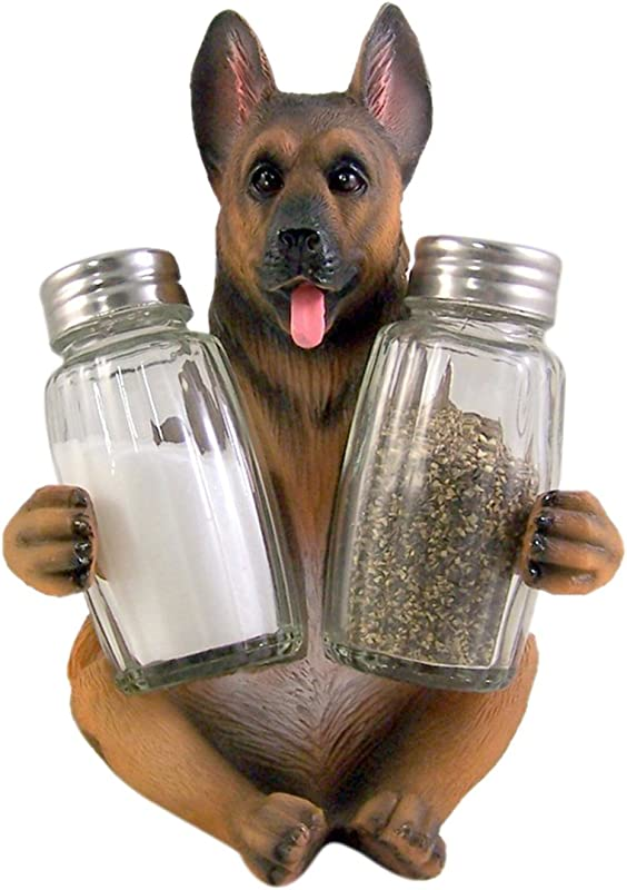 German Shepherd Salt And Pepper Shaker Holder 6 Inch Shakers Included