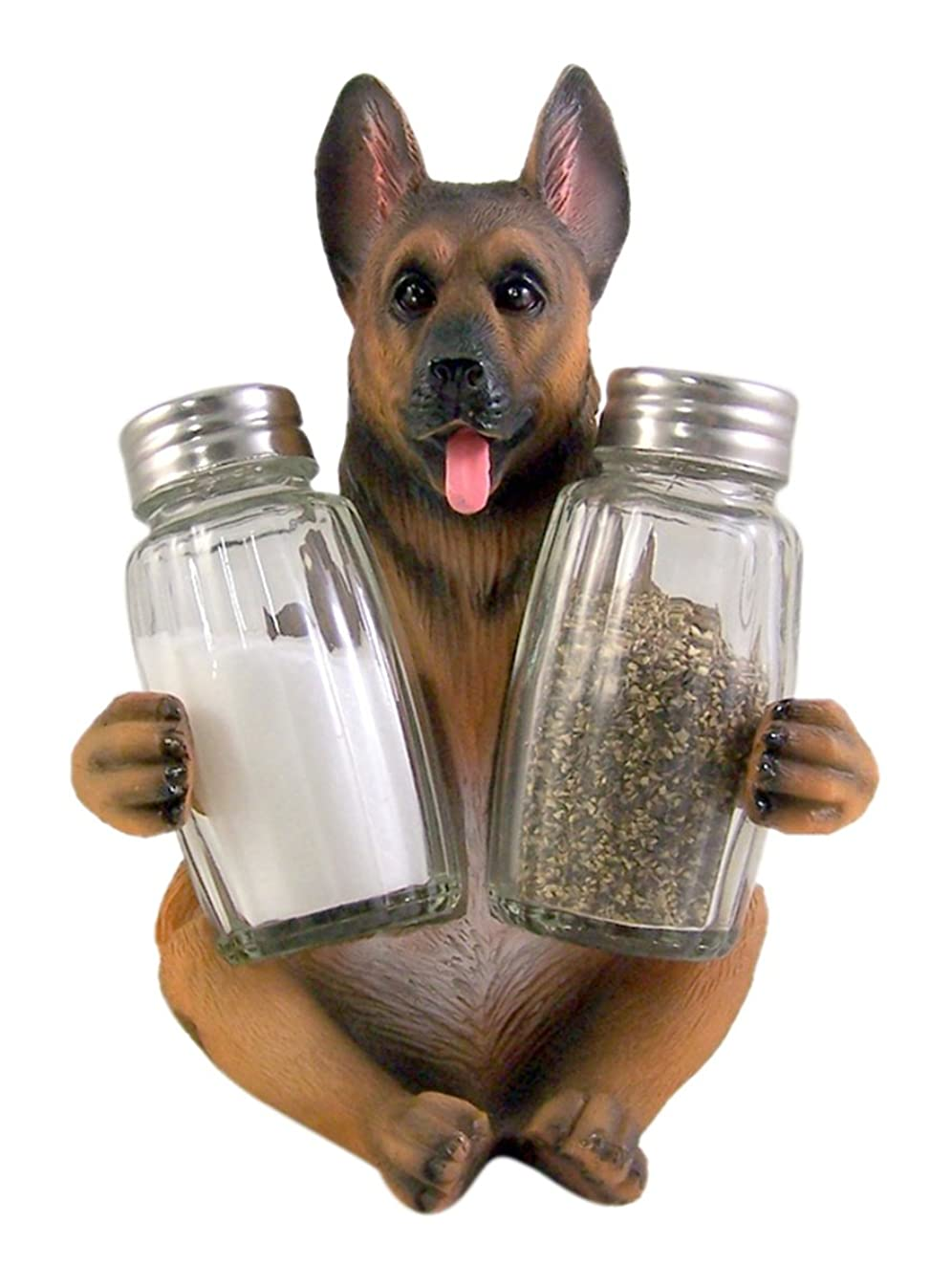 German Shepherd Salt and Pepper Shaker Holder 6 Inch (Shakers Included)