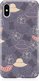 Loud Universe Case for iPhone XS Wrap around Edges Watermelon And Butterlies Purple Pattern Rugged Durable Sleek Low Profi...